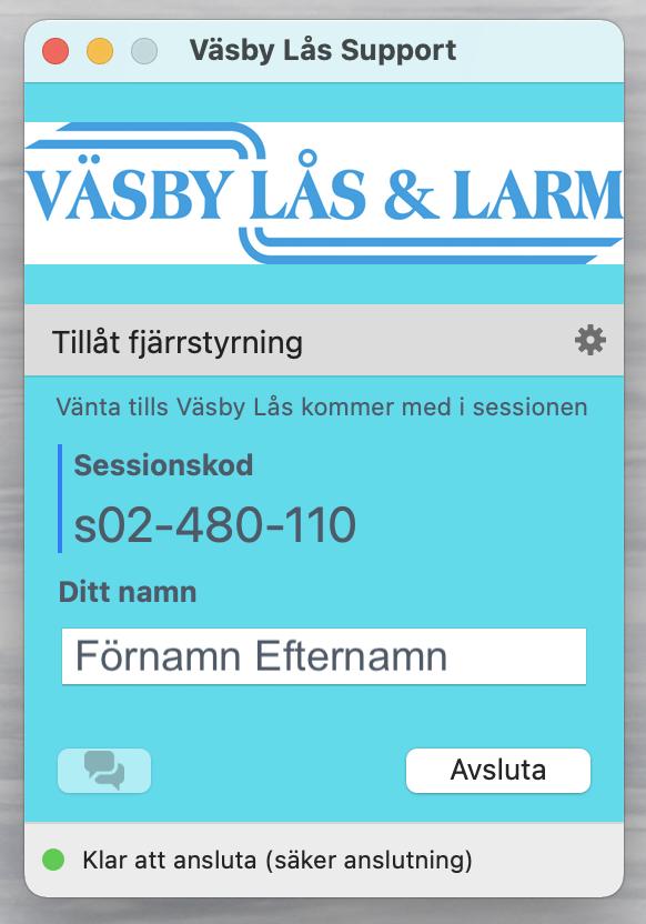 Exempel session TeamViewer app för fjärrsupport Väsby Lås & Larm